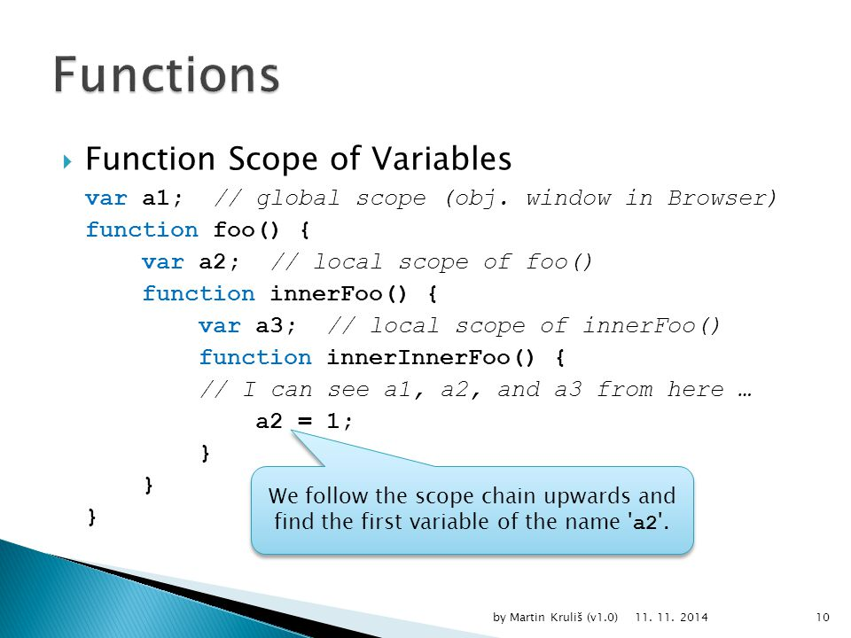  Function Scope of Variables var a1; // global scope (obj.