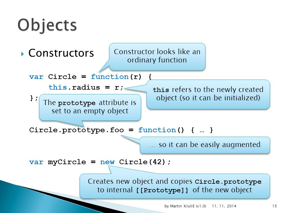  Constructors var Circle = function(r) { this.radius = r; }; Circle.prototype.foo = function() { … } var myCircle = new Circle(42); 11.
