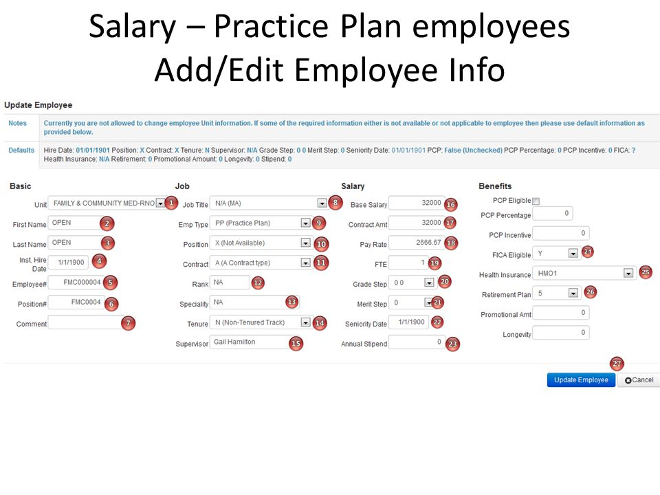 Salary – Practice Plan employees Add/Edit Employee Info