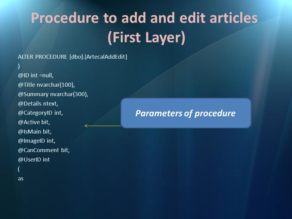 Procedure to add and edit articles (First Layer) ALTER PROCEDURE [dbo].[ArtecalAddEdit] ( @ID int =null, @Title nvarchar(100), @Summary nvarchar(300), @Details ntext, @CategoryID int, @Active bit, @IsMain bit, @ImageID int, @CanComment bit, @UserID int ) as Parameters of procedure