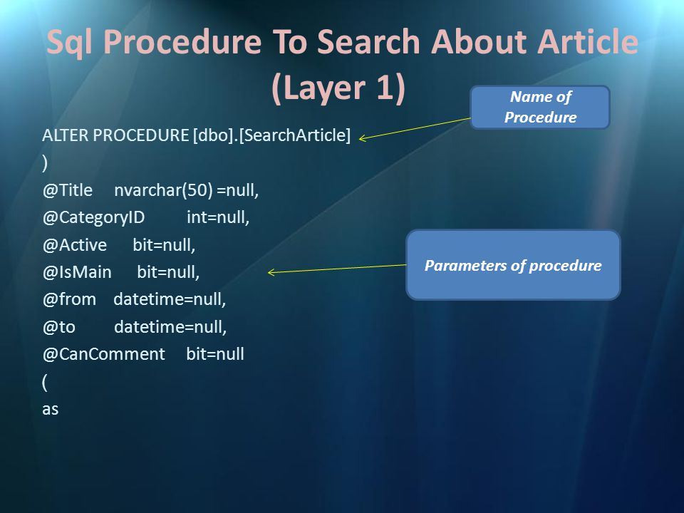 Sql Procedure To Search About Article (Layer 1) ALTER PROCEDURE [dbo].[SearchArticle] ( @Title nvarchar(50) =null, @CategoryID int=null, @Active bit=null, @IsMain bit=null, @from datetime=null, @to datetime=null, @CanComment bit=null ) as Parameters of procedure Name of Procedure