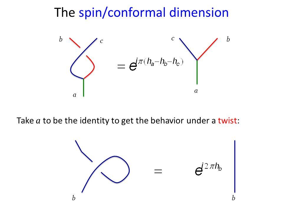b c a b c a Take a to be the identity to get the behavior under a twist: The spin/conformal dimension bb