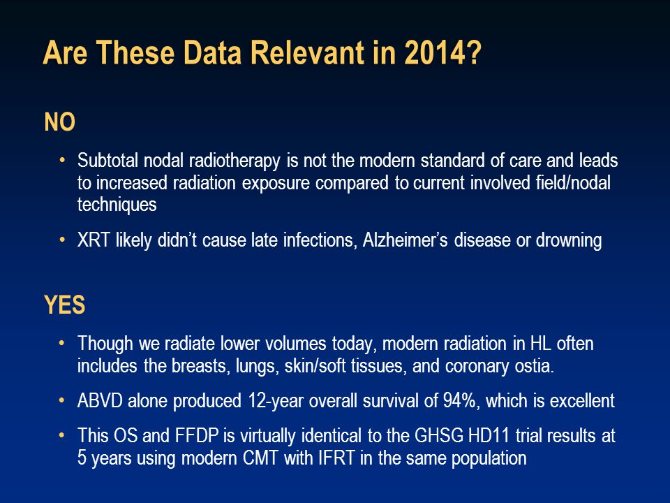Are These Data Relevant in 2014? NO Subtotal nodal radiotherapy is not the modern standard of care and leads to increased radiation exposure compared