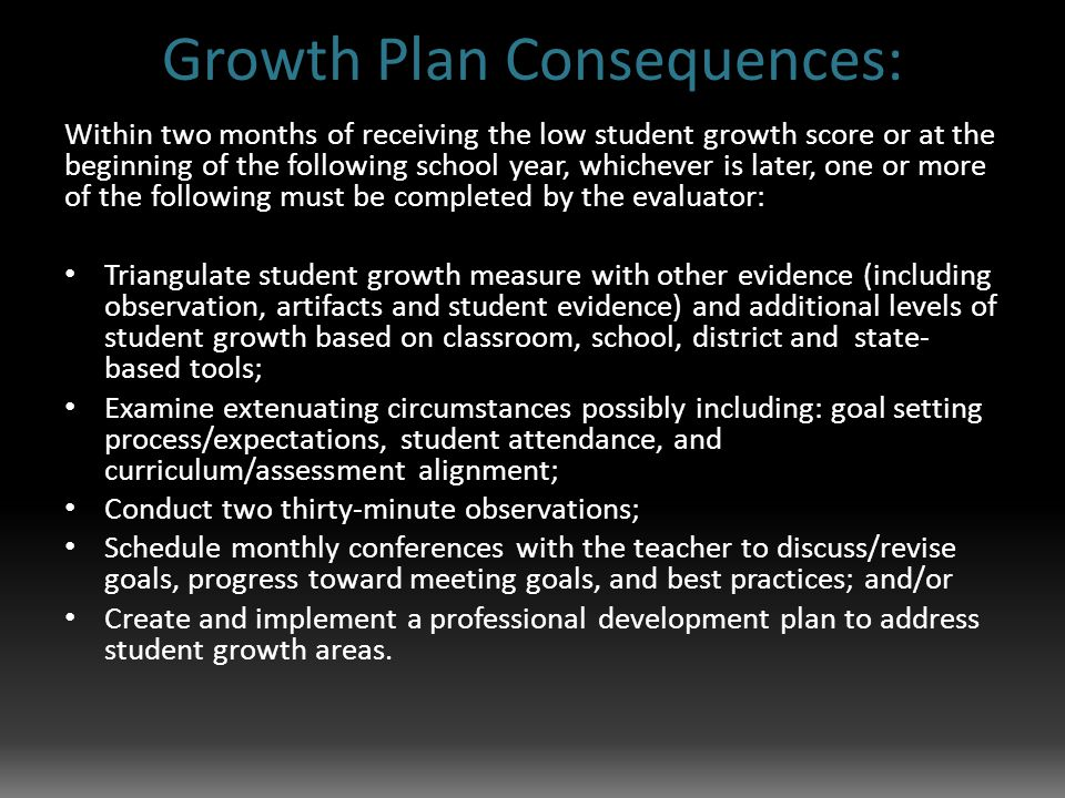 Growth Plan Consequences: Within two months of receiving the low student growth score or at the beginning of the following school year, whichever is later, one or more of the following must be completed by the evaluator: Triangulate student growth measure with other evidence (including observation, artifacts and student evidence) and additional levels of student growth based on classroom, school, district and state- based tools; Examine extenuating circumstances possibly including: goal setting process/expectations, student attendance, and curriculum/assessment alignment; Conduct two thirty-minute observations; Schedule monthly conferences with the teacher to discuss/revise goals, progress toward meeting goals, and best practices; and/or Create and implement a professional development plan to address student growth areas.