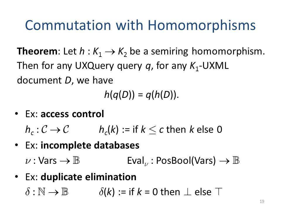 Commutation with Homomorphisms Ex: access control h c : C  C h c (k) := if k · c then k else 0 Ex: incomplete databases º : Vars  B Eval º : PosBool