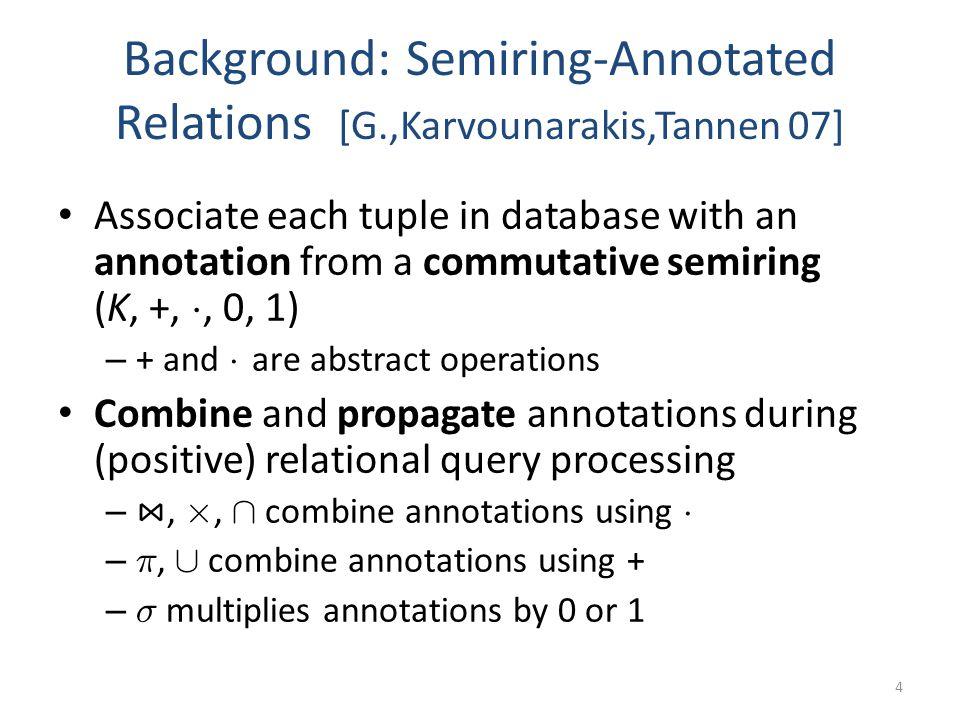 Background: Semiring-Annotated Relations [G.,Karvounarakis,Tannen 07] Associate each tuple in database with an annotation from a commutative semiring