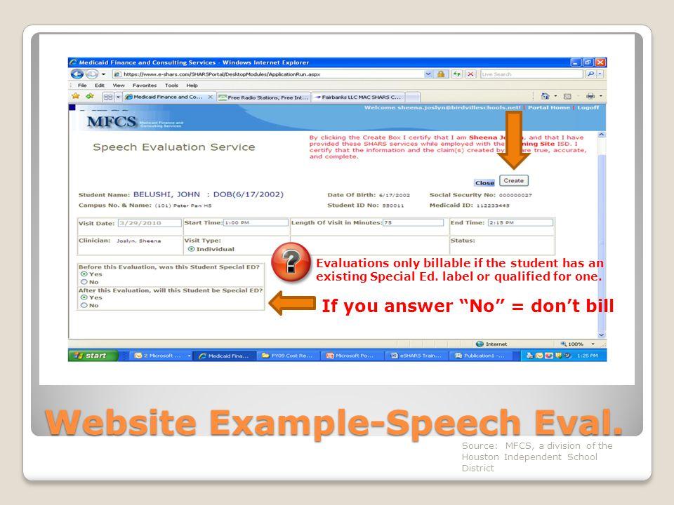Website Example-Speech Eval.