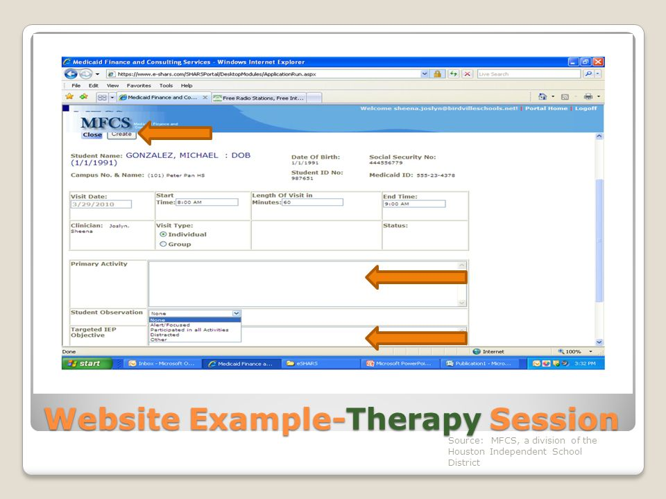 Website Example-Therapy Session Source: MFCS, a division of the Houston Independent School District