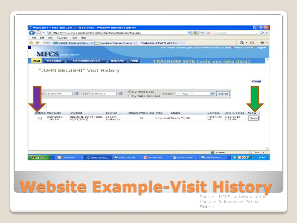 Website Example-Visit History Source: MFCS, a division of the Houston Independent School District