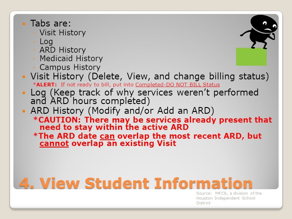 4. View Student Information Tabs are: ◦Visit History ◦Log ◦ARD History ◦Medicaid History ◦Campus History Visit History (Delete, View, and change billi