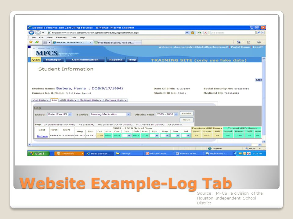 Website Example-Log Tab Source: MFCS, a division of the Houston Independent School District