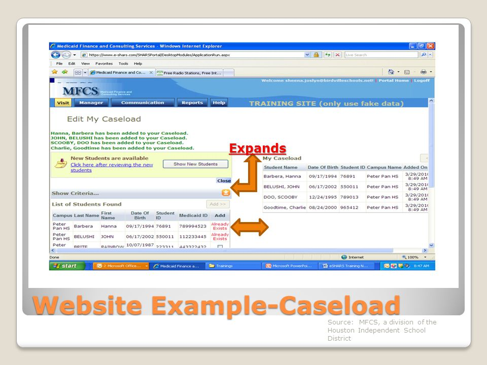 Website Example-Caseload Expands Source: MFCS, a division of the Houston Independent School District
