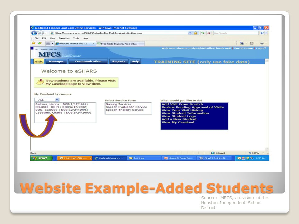 Website Example-Added Students Source: MFCS, a division of the Houston Independent School District