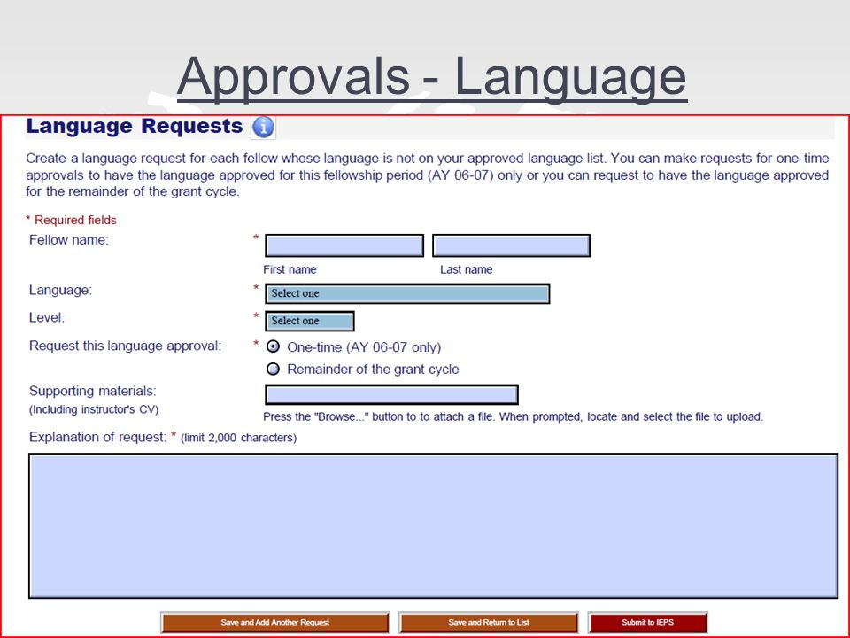 Approvals - Language