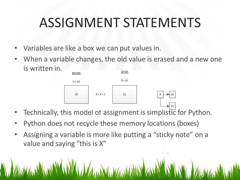 ASSIGNMENT STATEMENTS Variables are like a box we can put values in.