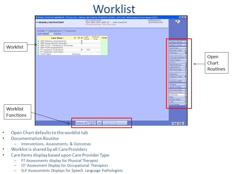 Open Chart defaults to the worklist tab Documentation Routine – Interventions, Assessments, & Outcomes Worklist is shared by all Care Providers Care I
