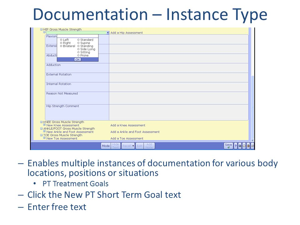 Documentation – Instance Type – Enables multiple instances of documentation for various body locations, positions or situations PT Treatment Goals – C