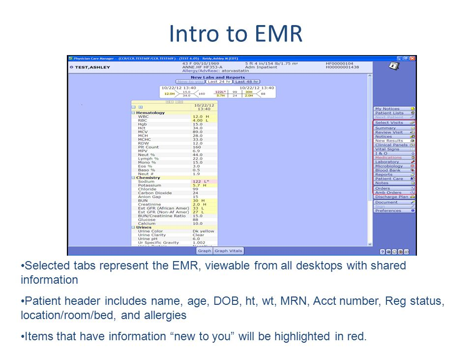 Intro to EMR Selected tabs represent the EMR, viewable from all desktops with shared information Patient header includes name, age, DOB, ht, wt, MRN,