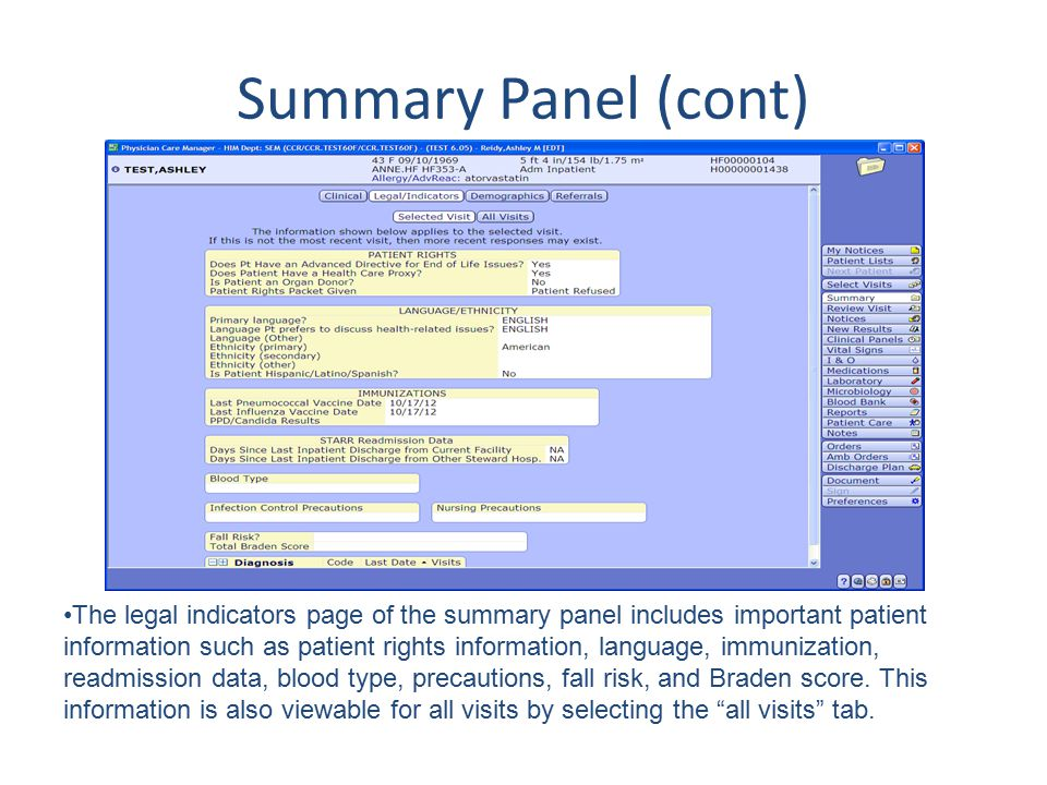 Summary Panel (cont) The legal indicators page of the summary panel includes important patient information such as patient rights information, languag
