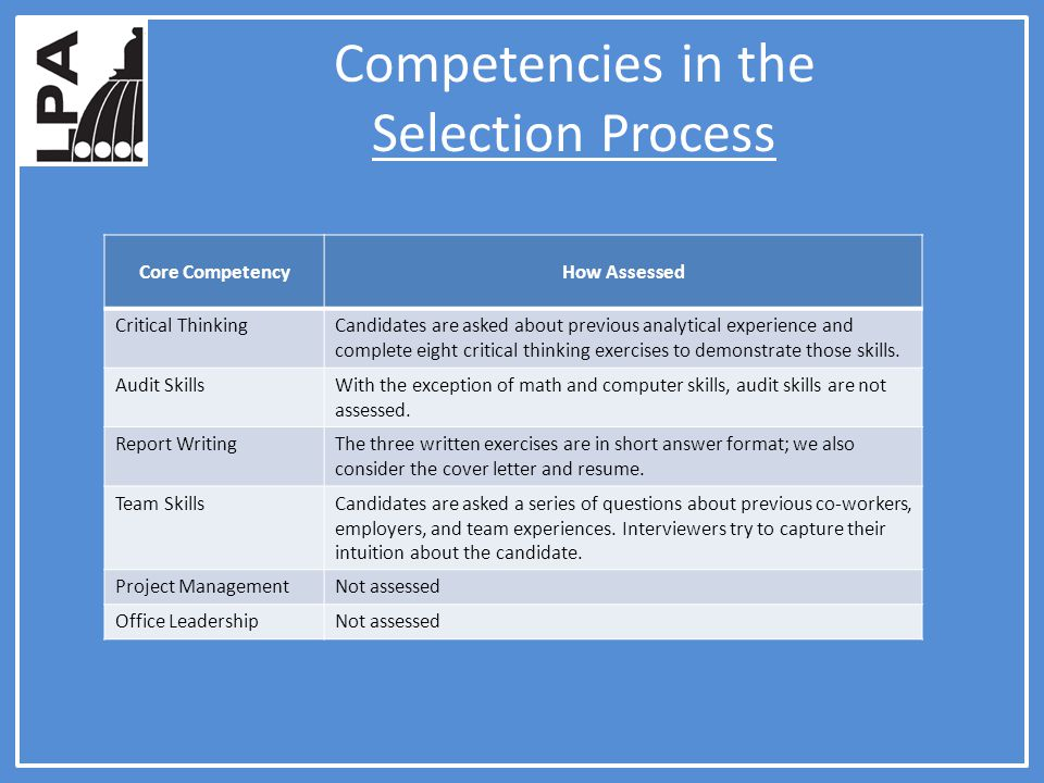 Competencies in the Selection Process Core CompetencyHow Assessed Critical ThinkingCandidates are asked about previous analytical experience and complete eight critical thinking exercises to demonstrate those skills.