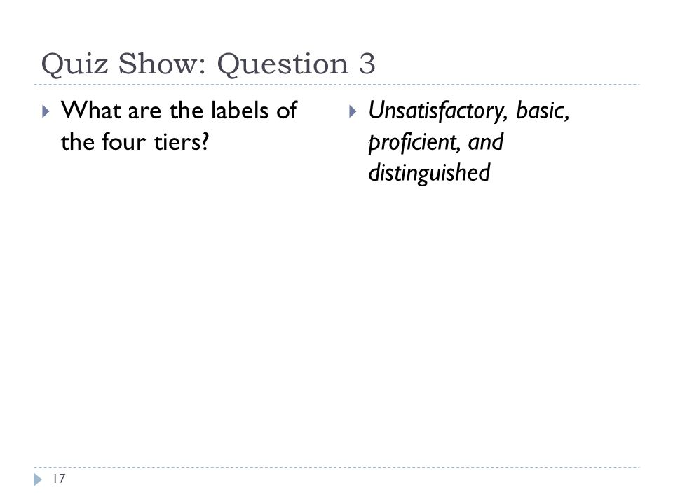 Quiz Show: Question 3 17  What are the labels of the four tiers?  Unsatisfactory, basic, proficient, and distinguished