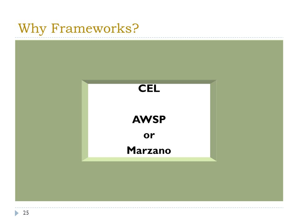 Why Frameworks? 25 CEL AWSP or Marzano