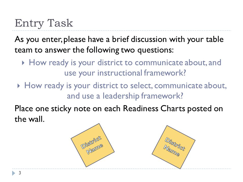 Entry Task 3 As you enter, please have a brief discussion with your table team to answer the following two questions:  How ready is your district to