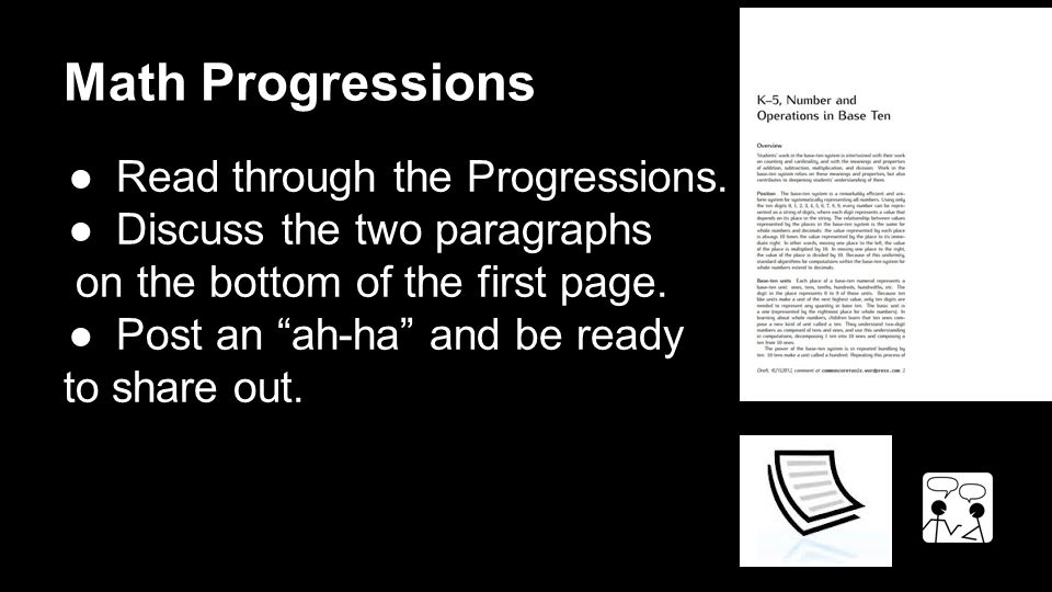 Math Progressions ●Read through the Progressions.