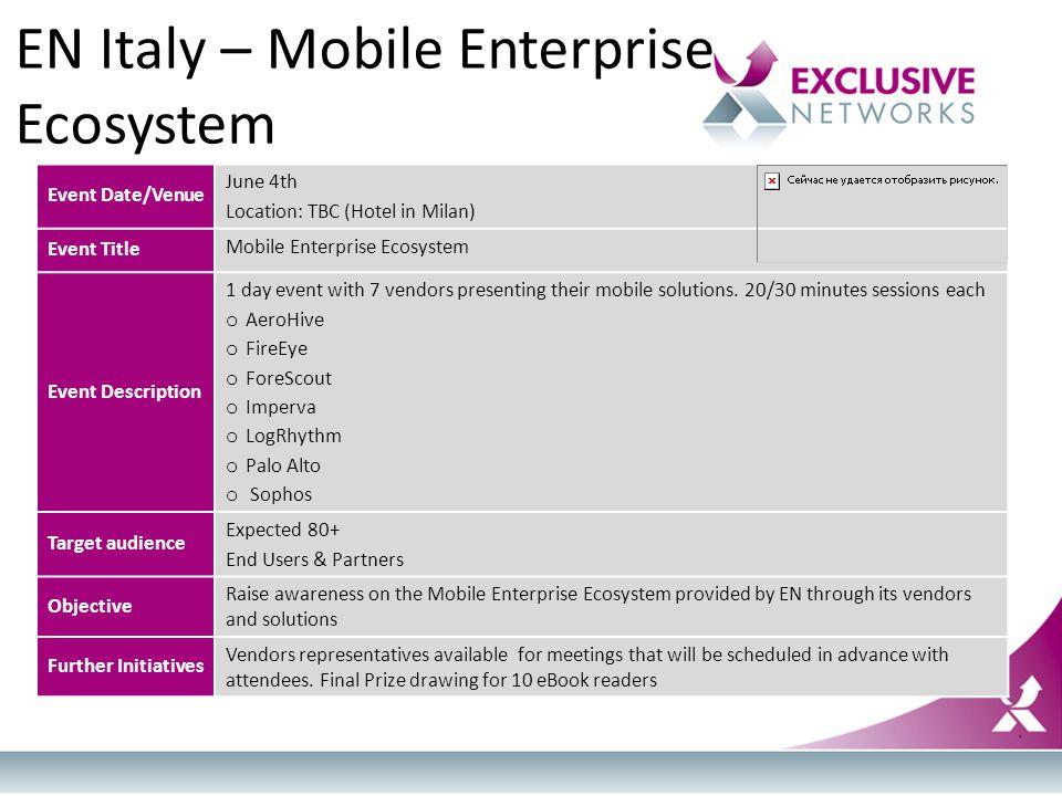 Event Date/Venue June 4th Location: TBC (Hotel in Milan) Event Title Mobile Enterprise Ecosystem Event Description 1 day event with 7 vendors presenti