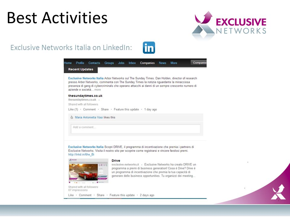 Best Activities Exclusive Networks Italia on LinkedIn: