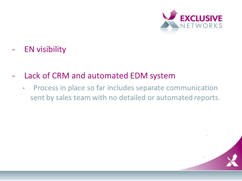 -EN visibility -Lack of CRM and automated EDM system Process in place so far includes separate communication sent by sales team with no detailed or au