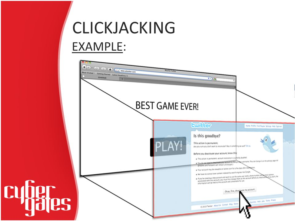 CLICKJACKING EXAMPLE: