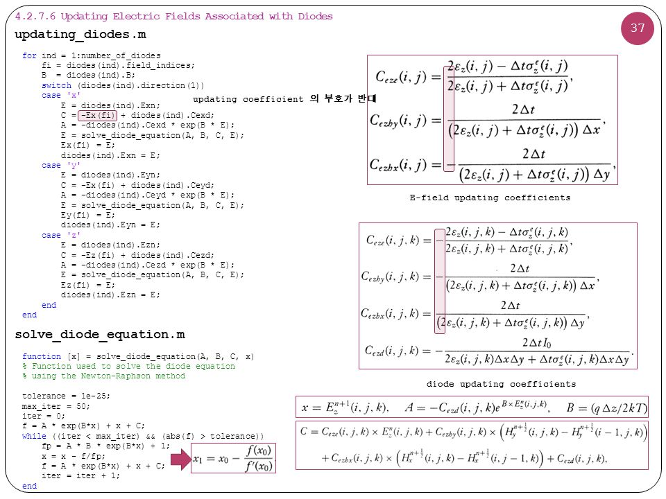37 function [x] = solve_diode_equation(A, B, C, x) % Function used to solve the diode equation % using the Newton-Raphson method tolerance = 1e-25; max_iter = 50; iter = 0; f = A * exp(B*x) + x + C; while ((iter tolerance)) fp = A * B * exp(B*x) + 1; x = x - f/fp; f = A * exp(B*x) + x + C; iter = iter + 1; end solve_diode_equation.m updating_diodes.m for ind = 1:number_of_diodes fi = diodes(ind).field_indices; B = diodes(ind).B; switch (diodes(ind).direction(1)) case x E = diodes(ind).Exn; C = -Ex(fi) + diodes(ind).Cexd; A = -diodes(ind).Cexd * exp(B * E); E = solve_diode_equation(A, B, C, E); Ex(fi) = E; diodes(ind).Exn = E; case y E = diodes(ind).Eyn; C = -Ex(fi) + diodes(ind).Ceyd; A = -diodes(ind).Ceyd * exp(B * E); E = solve_diode_equation(A, B, C, E); Ey(fi) = E; diodes(ind).Eyn = E; case z E = diodes(ind).Ezn; C = -Ez(fi) + diodes(ind).Cezd; A = -diodes(ind).Cezd * exp(B * E); E = solve_diode_equation(A, B, C, E); Ez(fi) = E; diodes(ind).Ezn = E; end 4.2.7.6 Updating Electric Fields Associated with Diodes E-field updating coefficients diode updating coefficients updating coefficient 의 부호가 반대