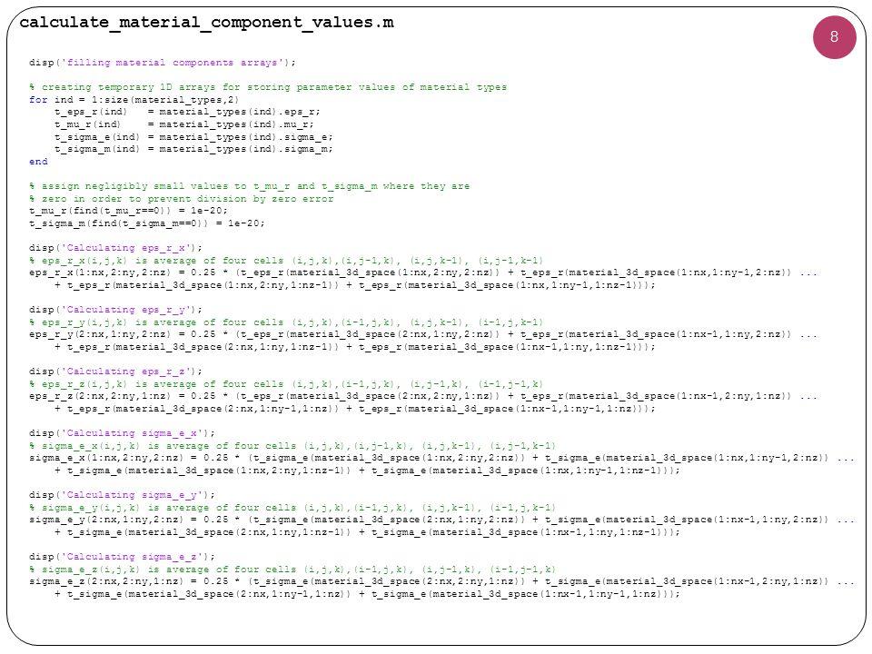 calculate_material_component_values.m (cont'd) 9 disp( Calculating mu_r_x ); % mu_r_x(i,j,k) is average of two cells (i,j,k),(i-1,j,k) mu_r_x(2:nx,1:ny,1:nz) = 2 * (t_mu_r(material_3d_space(2:nx,1:ny,1:nz)).* t_mu_r(material_3d_space(1:nx-1,1:ny,1:nz)))..../(t_mu_r(material_3d_space(2:nx,1:ny,1:nz)) + t_mu_r(material_3d_space(1:nx-1,1:ny,1:nz))); disp( Calculating mu_r_y ); % mu_r_y(i,j,k) is average of two cells (i,j,k),(i,j-1,k) mu_r_y(1:nx,2:ny,1:nz) = 2 * (t_mu_r(material_3d_space(1:nx,2:ny,1:nz)).* t_mu_r(material_3d_space(1:nx,1:ny-1,1:nz)))..../(t_mu_r(material_3d_space(1:nx,2:ny,1:nz)) + t_mu_r(material_3d_space(1:nx,1:ny-1,1:nz))); disp( Calculating mu_r_z ); % mu_r_z(i,j,k) is average of two cells (i,j,k),(i,j,k-1) mu_r_z(1:nx,1:ny,2:nz) = 2 * (t_mu_r(material_3d_space(1:nx,1:ny,2:nz)).* t_mu_r(material_3d_space(1:nx,1:ny,1:nz-1)))..../(t_mu_r(material_3d_space(1:nx,1:ny,2:nz)) + t_mu_r(material_3d_space(1:nx,1:ny,1:nz-1))); disp( Calculating sigma_m_x ); % sigma_m_x(i,j,k) is average of two cells (i,j,k),(i-1,j,k) sigma_m_x(2:nx,1:ny,1:nz) = 2 * (t_sigma_m(material_3d_space(2:nx,1:ny,1:nz)).* t_sigma_m(material_3d_space(1:nx-1,1:ny,1:nz)))..../(t_sigma_m(material_3d_space(2:nx,1:ny,1:nz)) + t_sigma_m(material_3d_space(1:nx-1,1:ny,1:nz))); disp( Calculating sigma_m_y ); % sigma_m_y(i,j,k) is average of two cells (i,j,k),(i,j-1,k) sigma_m_y(1:nx,2:ny,1:nz) = 2 * (t_sigma_m(material_3d_space(1:nx,2:ny,1:nz)).* t_sigma_m(material_3d_space(1:nx,1:ny-1,1:nz)))..../(t_sigma_m(material_3d_space(1:nx,2:ny,1:nz)) + t_sigma_m(material_3d_space(1:nx,1:ny-1,1:nz))); disp( Calculating sigma_m_z ); % sigma_m_z(i,j,k) is average of two cells (i,j,k),(i,j,k-1) sigma_m_z(1:nx,1:ny,2:nz) = 2 * (t_sigma_m(material_3d_space(1:nx,1:ny,2:nz)).* t_sigma_m(material_3d_space(1:nx,1:ny,1:nz-1)))..../(t_sigma_m(material_3d_space(1:nx,1:ny,2:nz)) + t_sigma_m(material_3d_space(1:nx,1:ny,1:nz-1)));