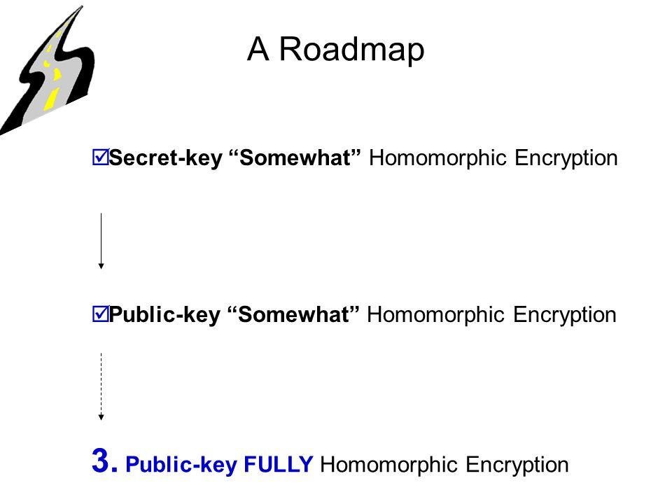 A Roadmap  Secret-key Somewhat Homomorphic Encryption  Public-key Somewhat Homomorphic Encryption 3.