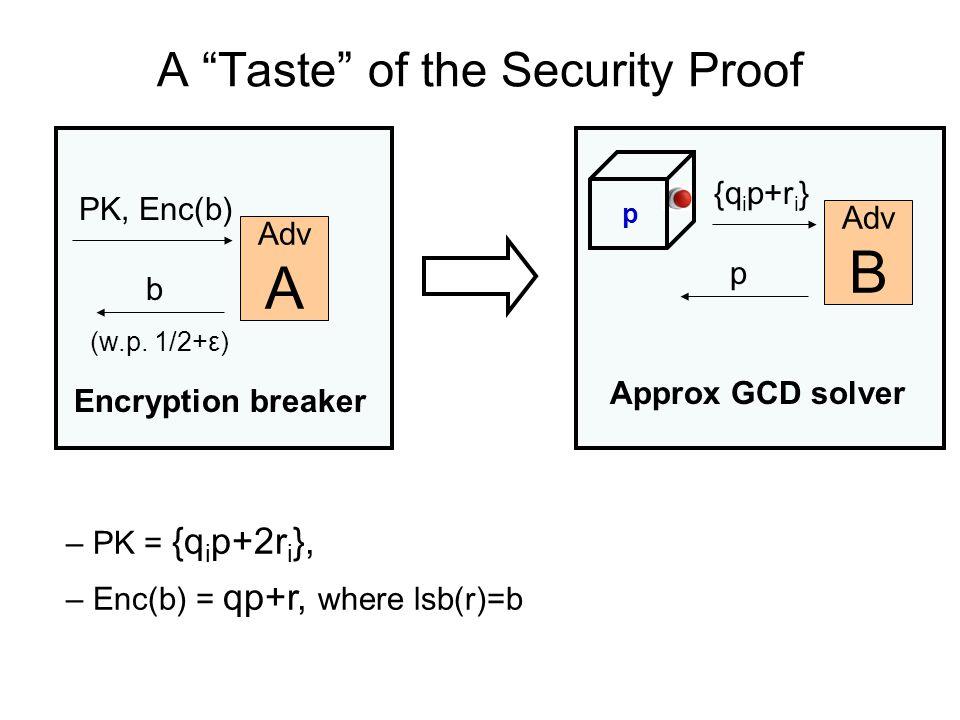 A Taste of the Security Proof Adv B {q i p+r i } p Approx GCD solver Adv A PK, Enc(b) b Encryption breaker (w.p.