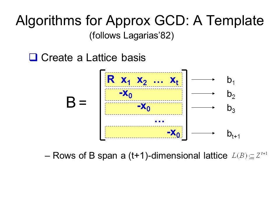 Algorithms for Approx GCD: A Template B =B = R x 1 x 2 … x t -x 0 -x 0 … -x 0 b1b1 b2b2 b3b3 b t+1 (follows Lagarias'82)  Create a Lattice basis – Rows of B span a (t+1)-dimensional lattice