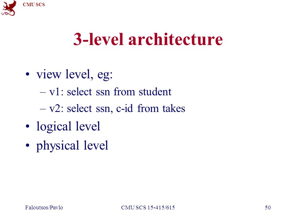 CMU SCS Faloutsos/PavloCMU SCS 15-415/61550 3-level architecture view level, eg: –v1: select ssn from student –v2: select ssn, c-id from takes logical level physical level