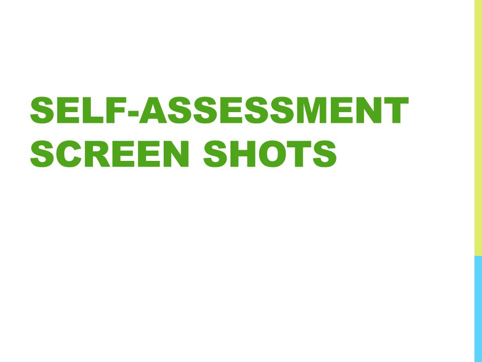 SELF-ASSESSMENT SCREEN SHOTS