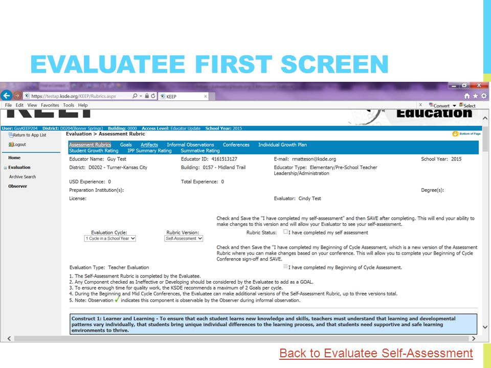 EVALUATEE FIRST SCREEN Back to Evaluatee Self-Assessment
