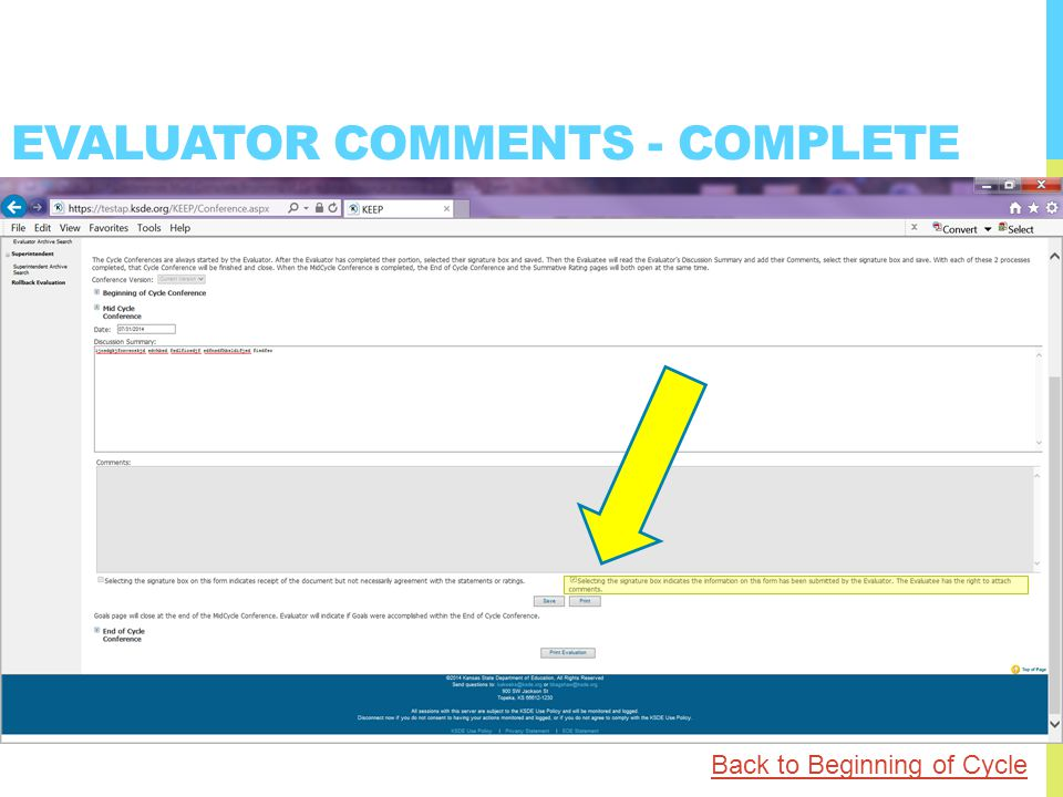 EVALUATOR COMMENTS - COMPLETE Back to Beginning of Cycle