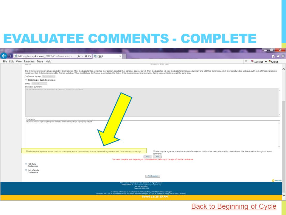 EVALUATEE COMMENTS - COMPLETE Back to Beginning of Cycle
