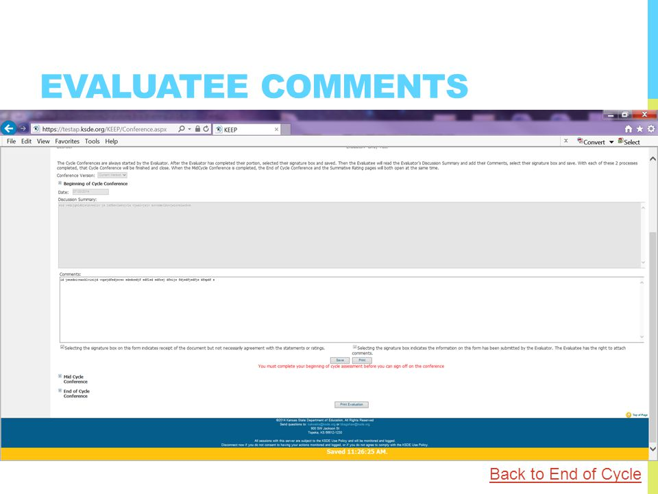 EVALUATEE COMMENTS Back to End of Cycle