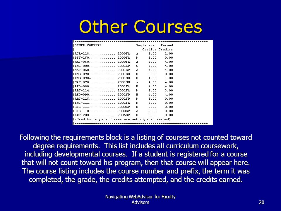 Navigating WebAdvisor for Faculty Advisors20 Other Courses Following the requirements block is a listing of courses not counted toward degree requirements.