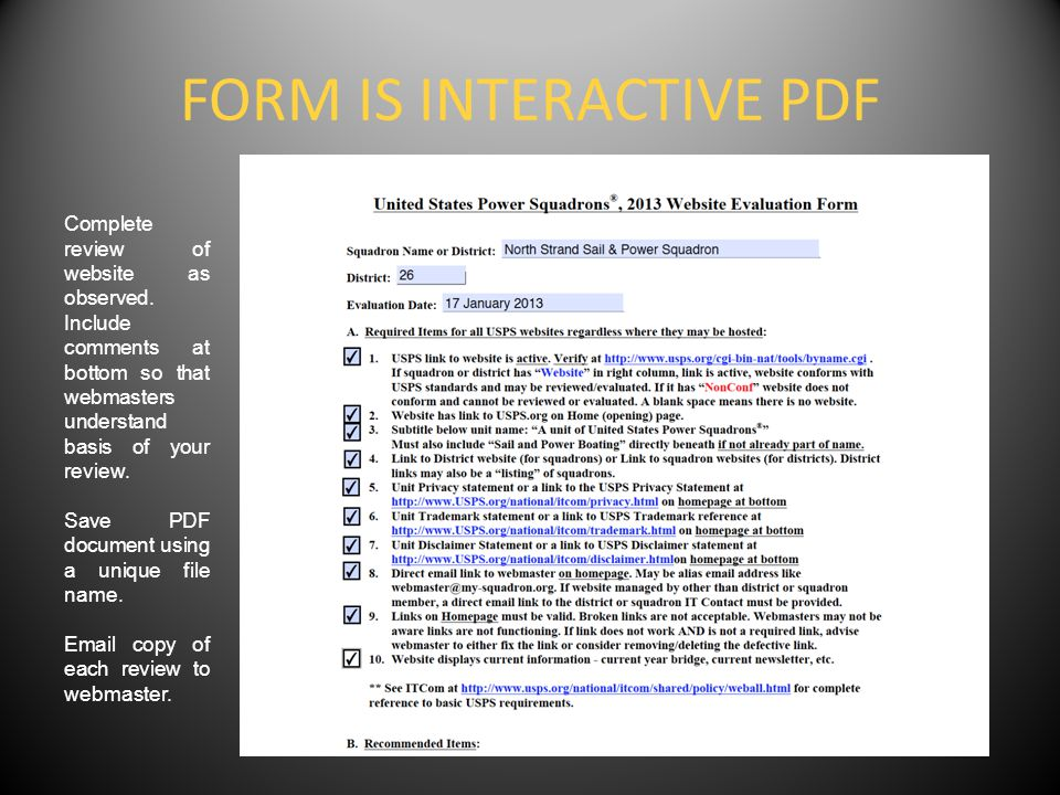 FORM IS INTERACTIVE PDF Complete review of website as observed.