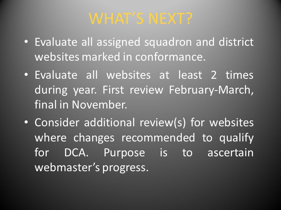 WHAT'S NEXT. Evaluate all assigned squadron and district websites marked in conformance.