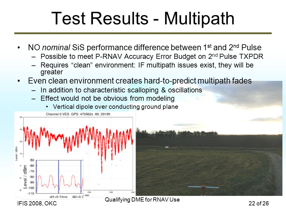 Qualifying DME for RNAV Use 22 of 26IFIS 2008, OKC Test Results - Multipath NO nominal SiS performance difference between 1 st and 2 nd Pulse –Possible to meet P-RNAV Accuracy Error Budget on 2 nd Pulse TXPDR –Requires clean environment: IF multipath issues exist, they will be greater Even clean environment creates hard-to-predict multipath fades –In addition to characteristic scalloping & oscillations –Effect would not be obvious from modeling Vertical dipole over conducting ground plane