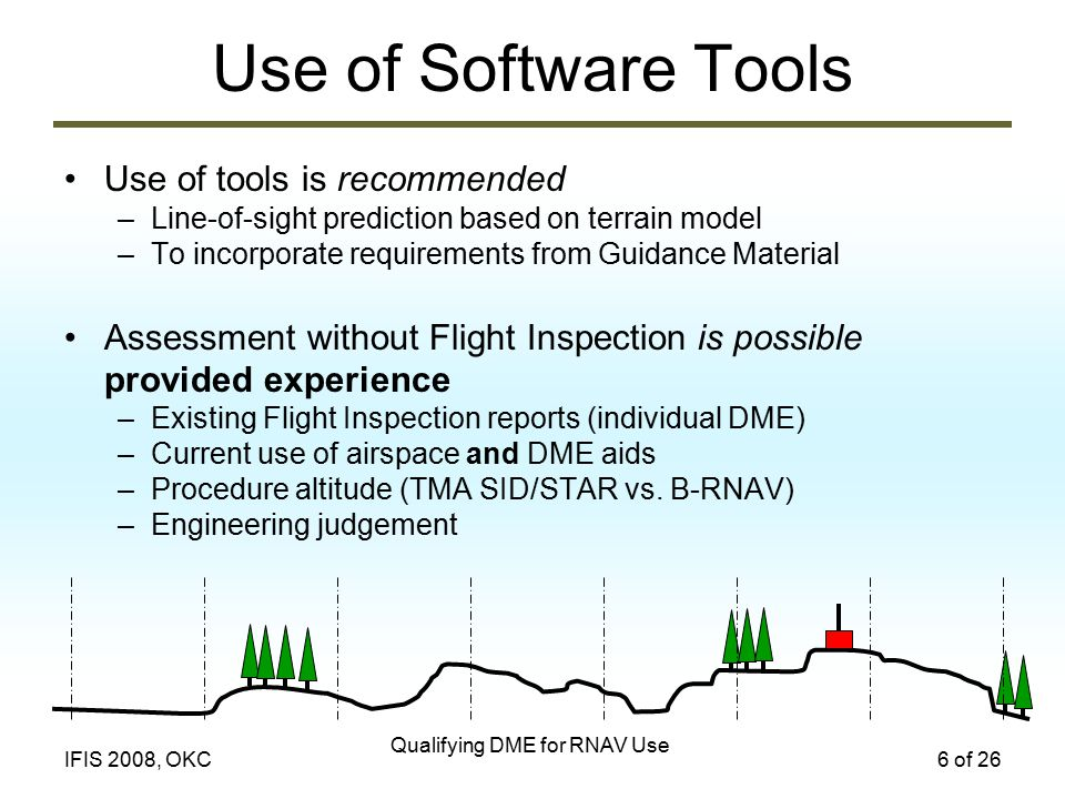 Qualifying DME for RNAV Use 6 of 26IFIS 2008, OKC Use of Software Tools Use of tools is recommended –Line-of-sight prediction based on terrain model –