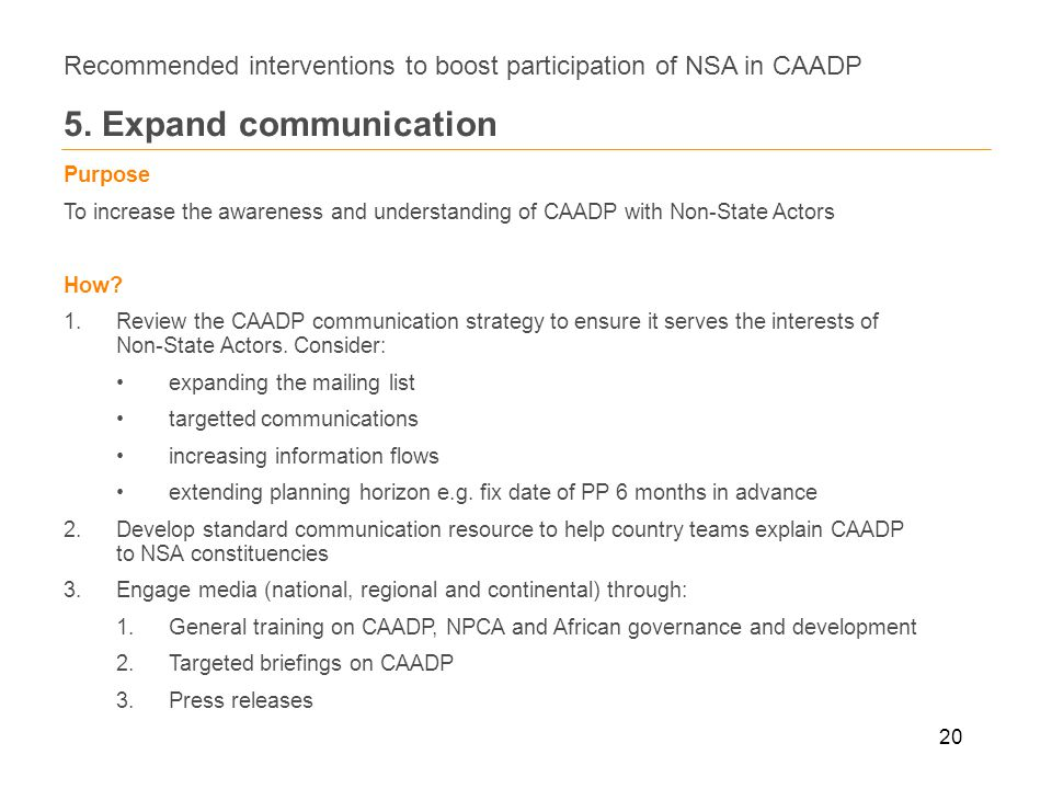 20 Recommended interventions to boost participation of NSA in CAADP 5.