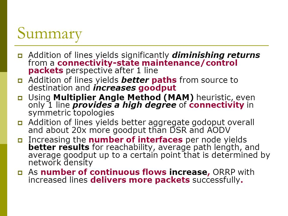 Summary  Addition of lines yields significantly diminishing returns from a connectivity-state maintenance/control packets perspective after 1 line 